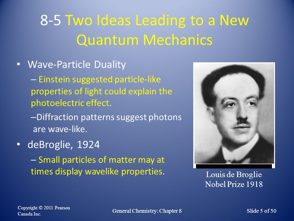 8-5 Two Ideas Leading to a New Quantum Mechanics Wave-Particle Duality – Einstein suggested particle-like properties of light could explain the photoe