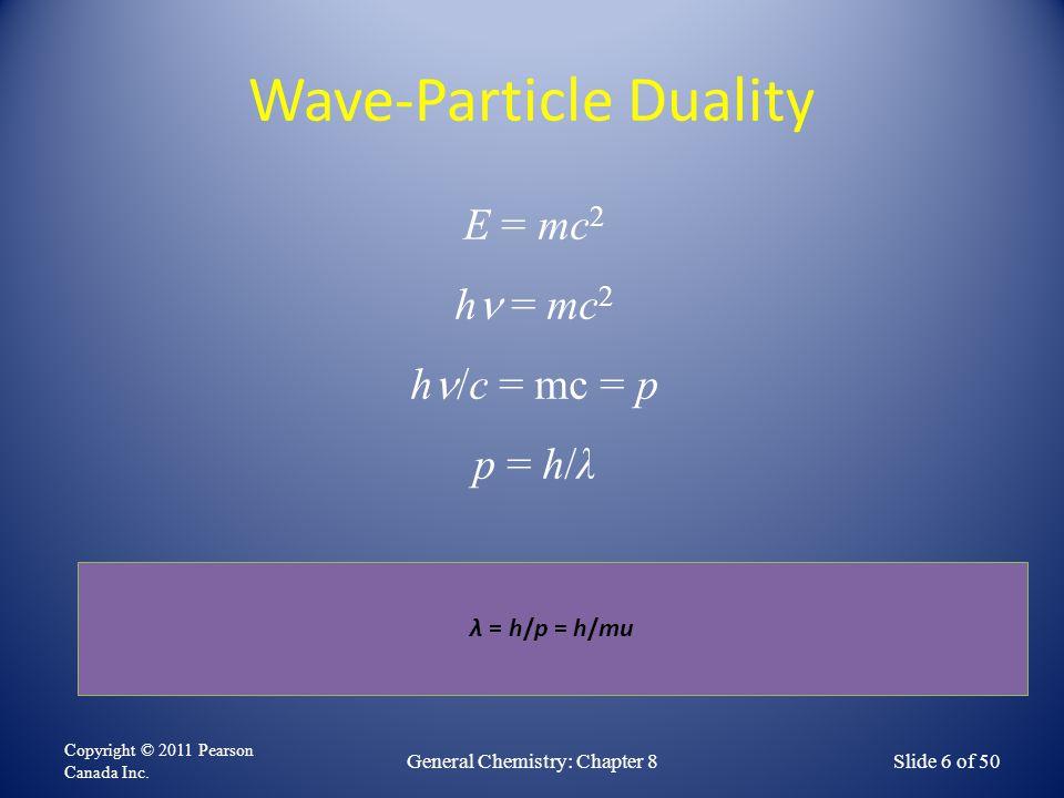 Wave-Particle Duality Copyright © 2011 Pearson Canada Inc. General Chemistry: Chapter 8Slide 6 of 50 E = mc 2 h = mc 2 h /c = mc = p p = h/λ λ = h/p =