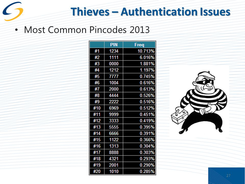 Thieves – Authentication Issues Most Common Pincodes 2013 27