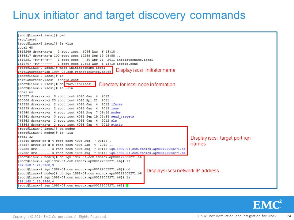 Copyright © 2014 EMC Corporation. All Rights Reserved. Linux initiator and target discovery commands Display iscsi initiator name Display iscsi target