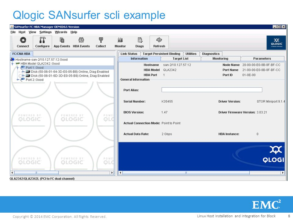 Copyright © 2014 EMC Corporation. All Rights Reserved. Qlogic SANsurfer scli example 8Linux Host Installation and Integration for Block