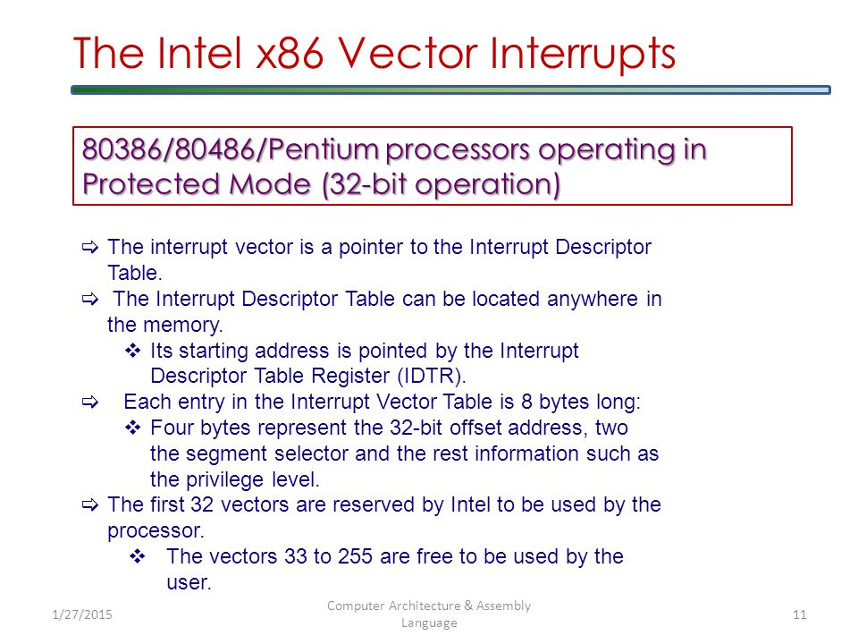 1/27/2015 Computer Architecture & Assembly Language 12 The Intel x86 Vector Interrupts