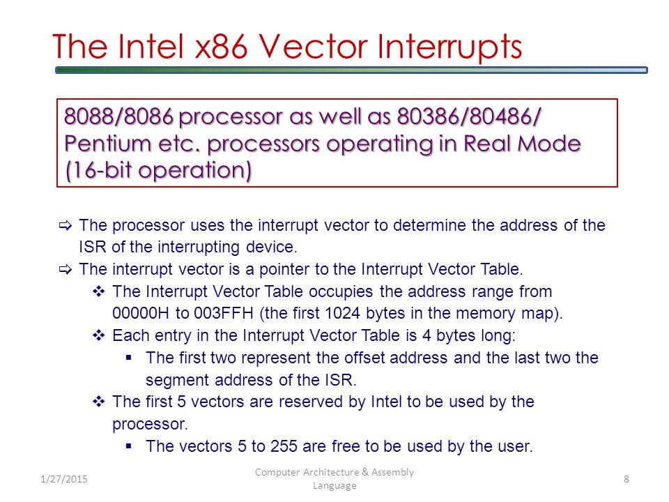 1/27/2015 Computer Architecture & Assembly Language 9 Type-0 Type-1 Type-255 IP CS 003FFH The Intel x86 Vector Interrupts Interrupt Vector Table 8088/8086 processor as well as 80386/80486/ Pentium etc.