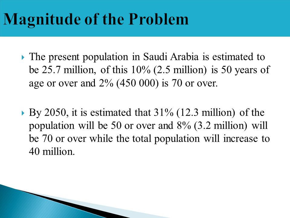 The present population in Saudi Arabia is estimated to be 25.7 million, of this 10% (2.5 million) is 50 years of age or over and 2% (450 000) is 70 or over.
