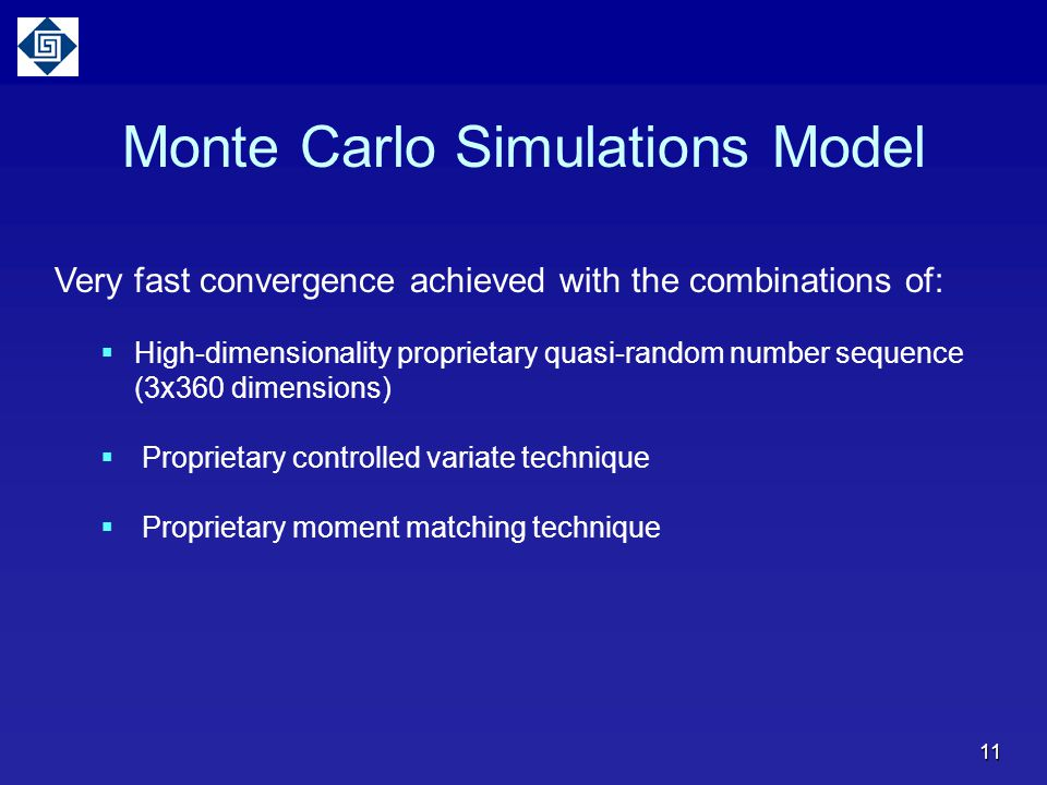 Monte Carlo Simulations Model Very fast convergence achieved with the combinations of:  High-dimensionality proprietary quasi-random number sequence (3x360 dimensions)  Proprietary controlled variate technique  Proprietary moment matching technique 11