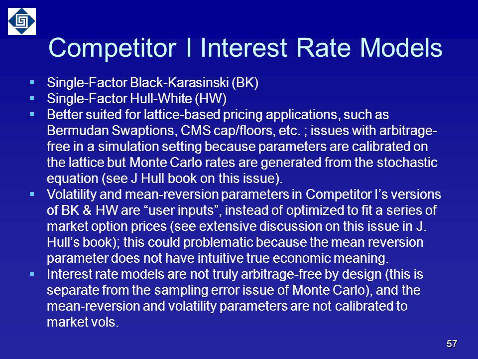 57 Competitor I Interest Rate Models  Single-Factor Black-Karasinski (BK)  Single-Factor Hull-White (HW)  Better suited for lattice-based pricing applications, such as Bermudan Swaptions, CMS cap/floors, etc.