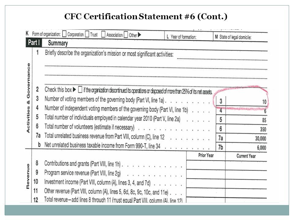 CFC Certification Statement #6 (Cont.)