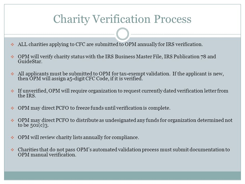 Charity Verification Process  ALL charities applying to CFC are submitted to OPM annually for IRS verification.