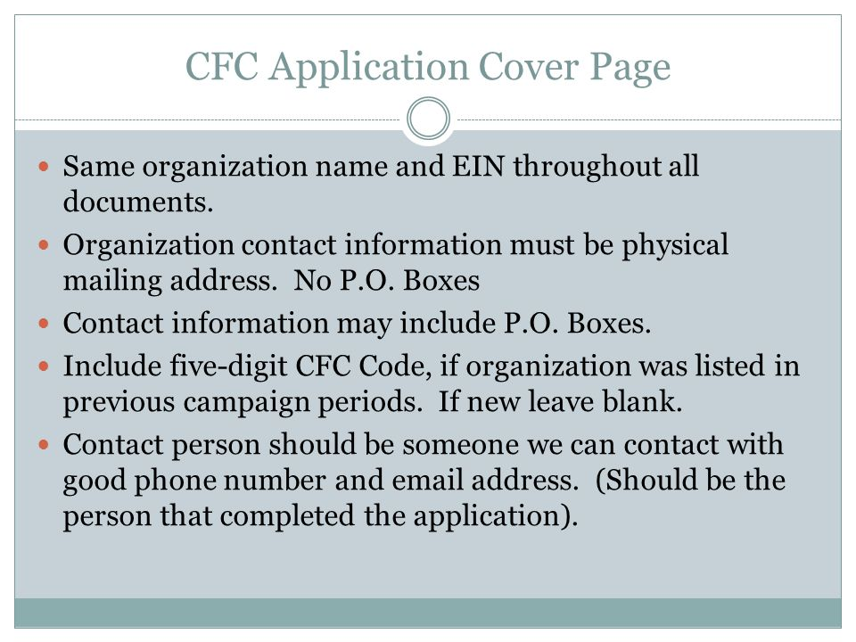 CFC Application Cover Page Same organization name and EIN throughout all documents.