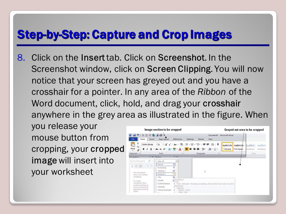 Step-by-Step: Capture and Crop Images 8.Click on the Insert tab. Click on Screenshot. In the Screenshot window, click on Screen Clipping. You will now