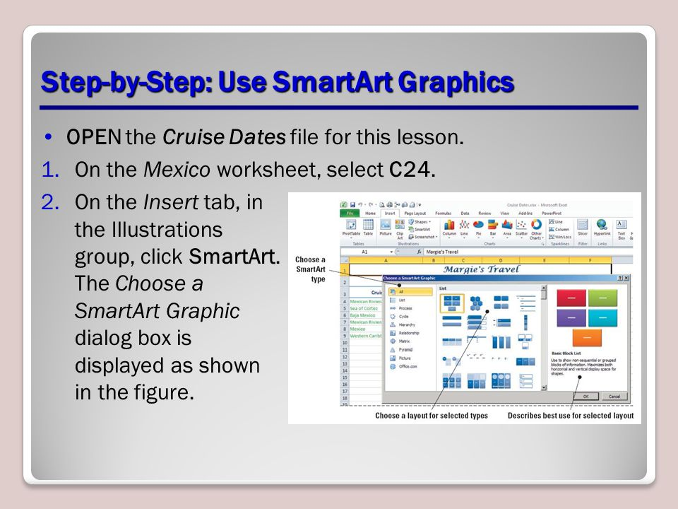 Step-by-Step: Use SmartArt Graphics OPEN the Cruise Dates file for this lesson. 1.On the Mexico worksheet, select C24. 2.On the Insert tab, in the Ill