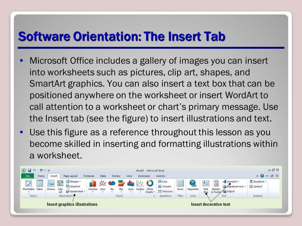 Software Orientation: The Insert Tab Microsoft Office includes a gallery of images you can insert into worksheets such as pictures, clip art, shapes,