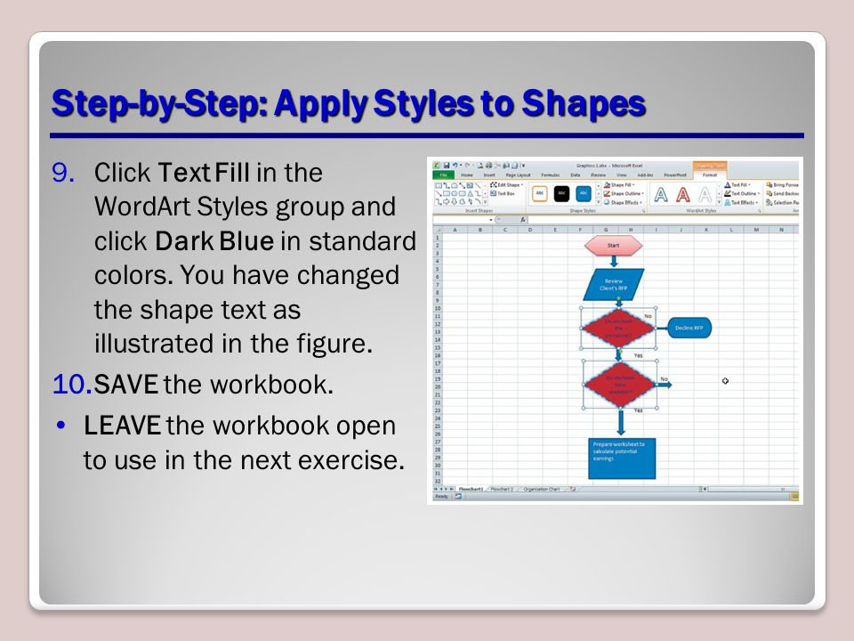 Step-by-Step: Apply Styles to Shapes 9.Click Text Fill in the WordArt Styles group and click Dark Blue in standard colors. You have changed the shape
