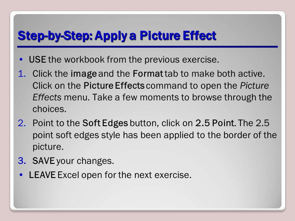Step-by-Step: Apply a Picture Effect USE the workbook from the previous exercise. 1.Click the image and the Format tab to make both active. Click on t