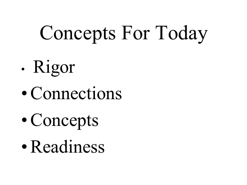 Concepts For Today Rigor Connections Concepts Readiness