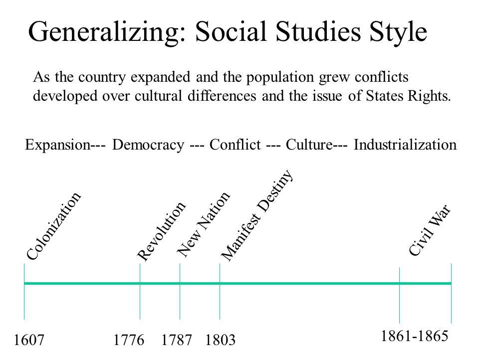 Generalizing: Social Studies Style 1607177617871803 1861-1865 ColonizationManifest Destiny New Nation Revolution Civil War Expansion--- Democracy ---