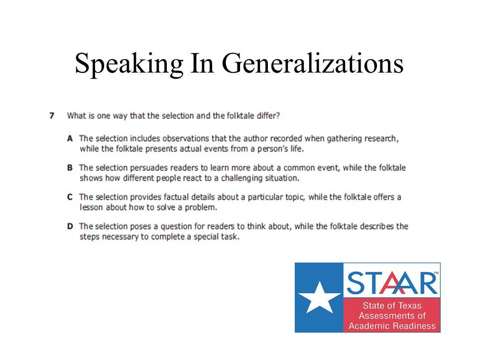 Speaking In Generalizations