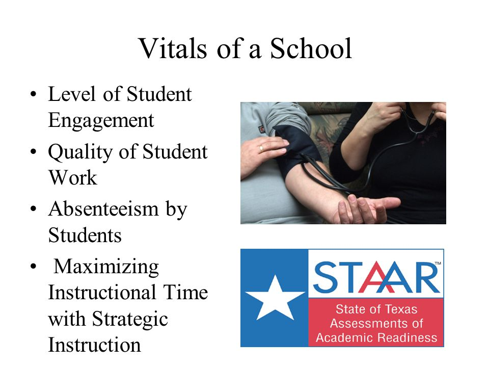Vitals of a School Level of Student Engagement Quality of Student Work Absenteeism by Students Maximizing Instructional Time with Strategic Instructio