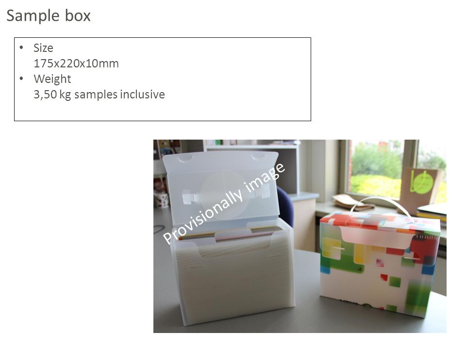 Size 175x220x10mm Weight 3,50 kg samples inclusive Sample box Provisionally image
