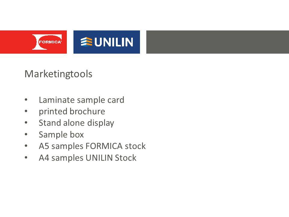 Marketingtools Laminate sample card printed brochure Stand alone display Sample box A5 samples FORMICA stock A4 samples UNILIN Stock