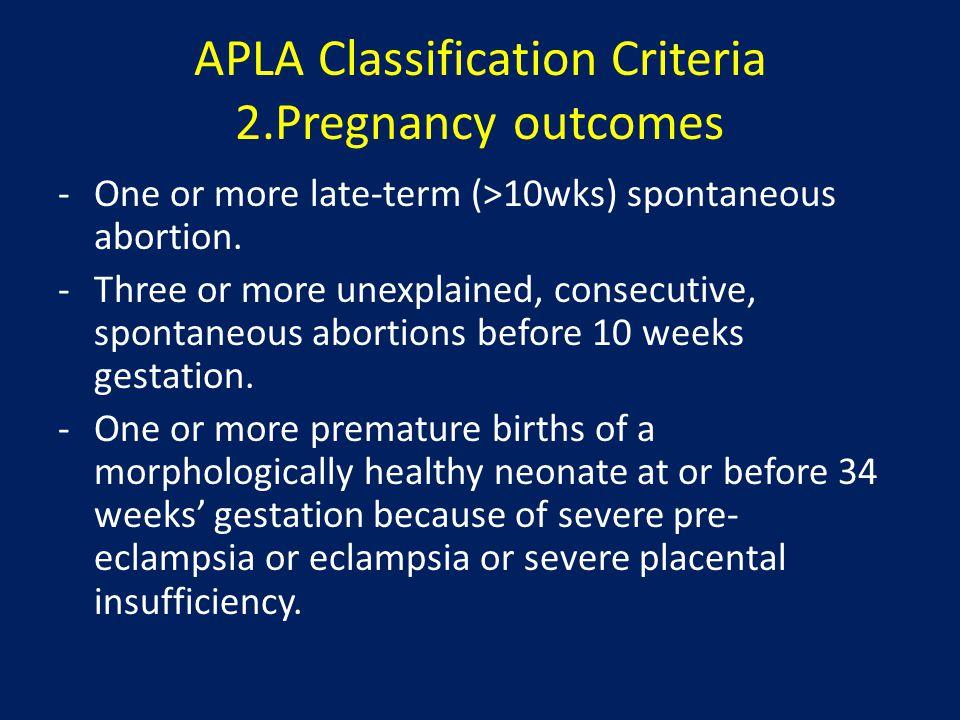 APLA Classification Criteria 3.