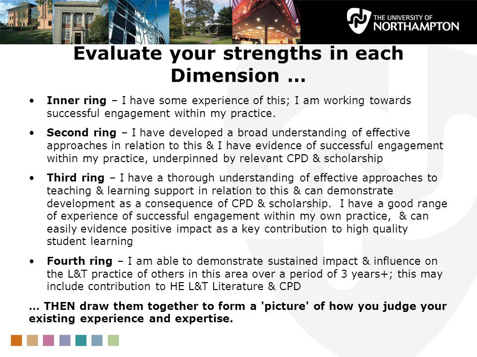 Evaluate your strengths in each Dimension … Inner ring – I have some experience of this; I am working towards successful engagement within my practice