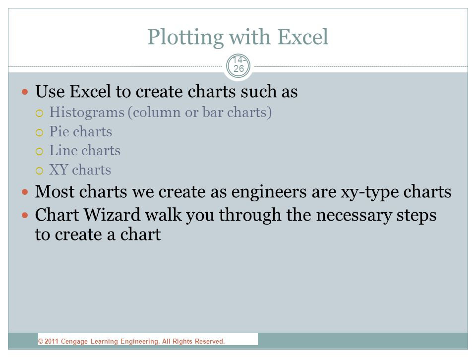 14- 26 Plotting with Excel Use Excel to create charts such as  Histograms (column or bar charts)  Pie charts  Line charts  XY charts Most charts we create as engineers are xy-type charts Chart Wizard walk you through the necessary steps to create a chart © 2011 Cengage Learning Engineering.