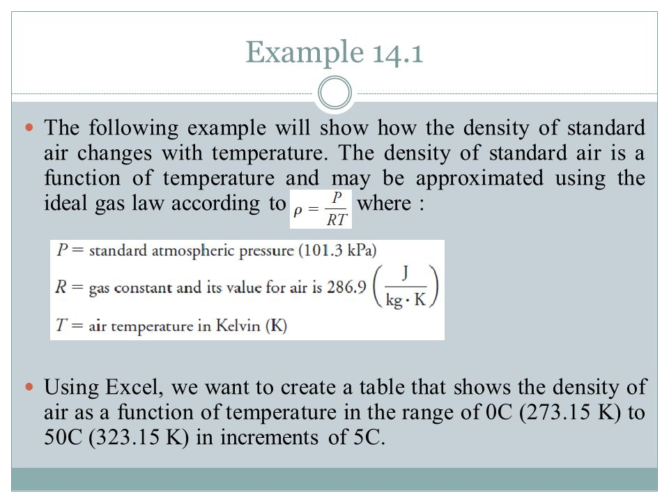 Example 14.1 1.In cell A1, type Density of air as a function of temperature.