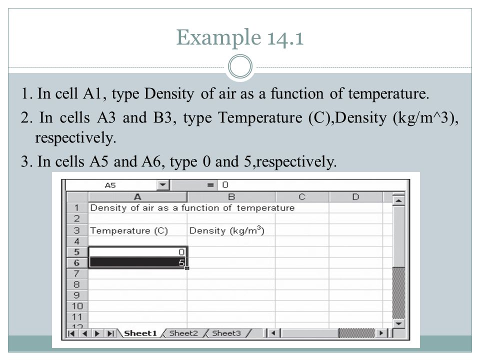 Example 14.1 1. In cell A1, type Density of air as a function of temperature.