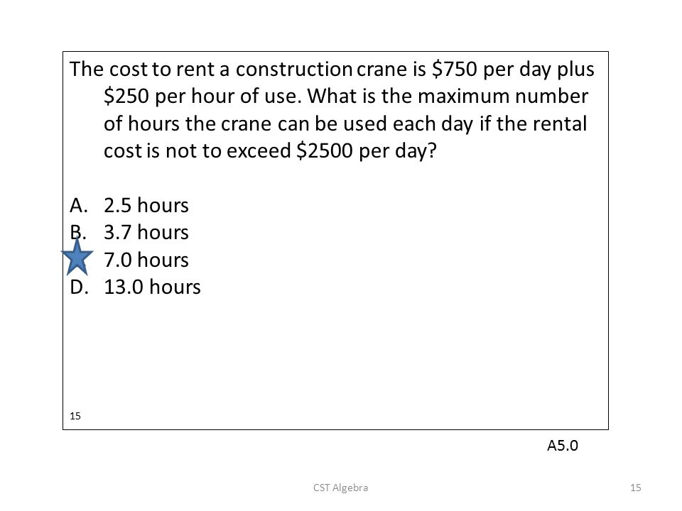The cost to rent a construction crane is $750 per day plus $250 per hour of use. What is the maximum number of hours the crane can be used each day if