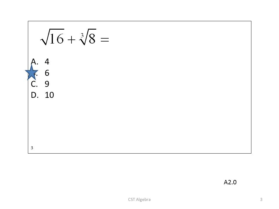 Which is a factor of ? A.x + 3 B.x - 3 C.x + 4 D.x - 4 54 CST Algebra54 A11.0