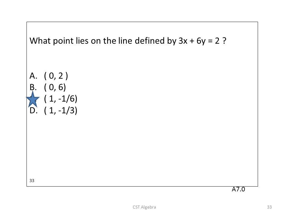 What point lies on the line defined by 3x + 6y = 2 ? A.( 0, 2 ) B.( 0, 6) C.( 1, -1/6) D.( 1, -1/3) 33 CST Algebra33 A7.0