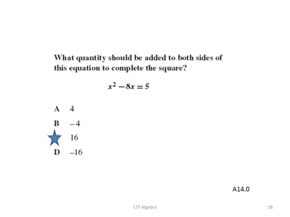 CST Algebra58 A14.0