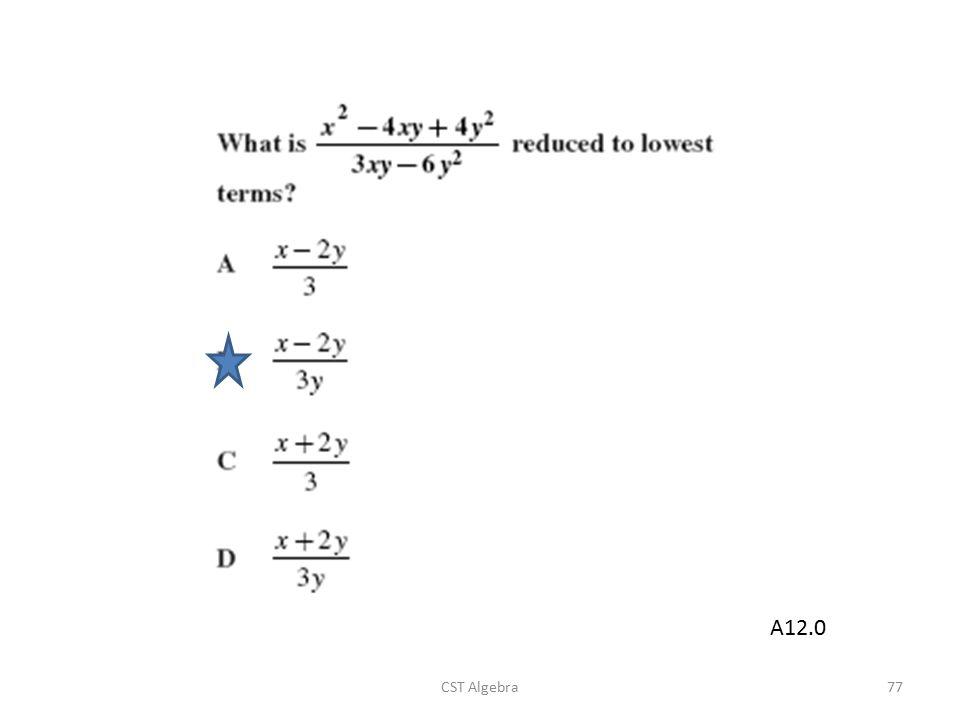 CST Algebra77 A12.0
