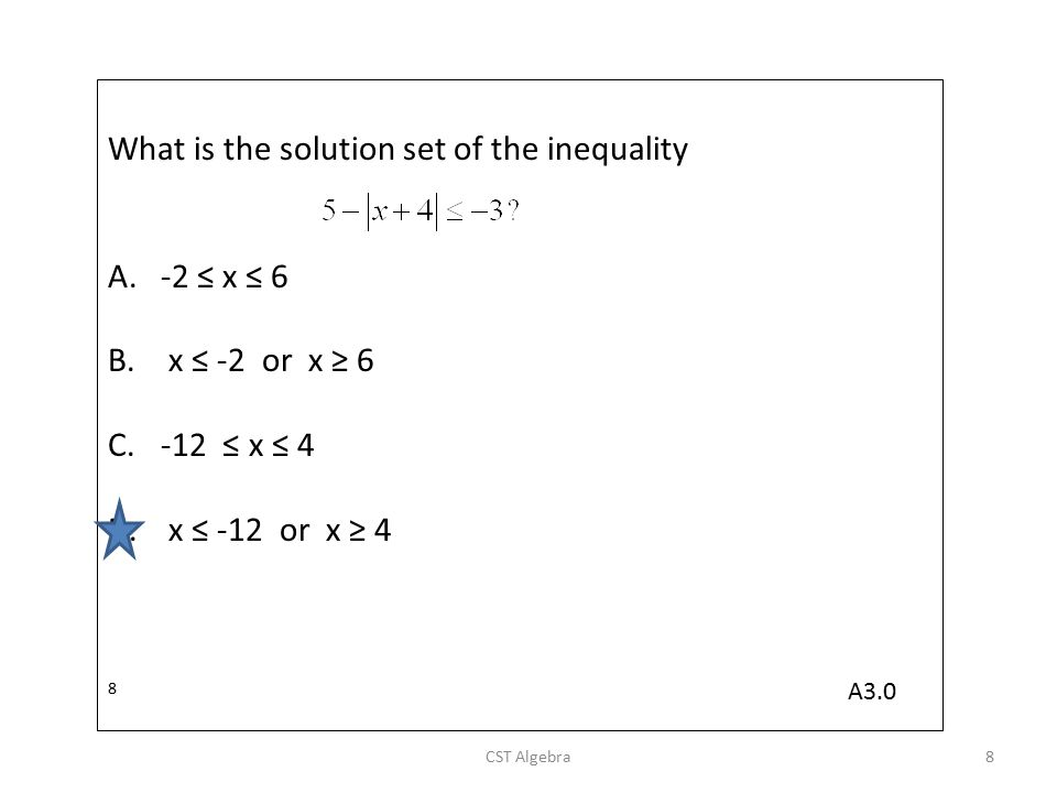What is the solution set of the inequality A.-2 ≤ x ≤ 6 B. x ≤ -2 or x ≥ 6 C.-12 ≤ x ≤ 4 D. x ≤ -12 or x ≥ 4 8 CST Algebra8 A3.0
