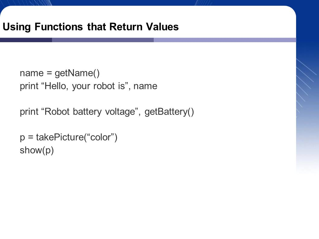 Composing Functions You can use the output (return value) of one function as the input (parameter) to another function.