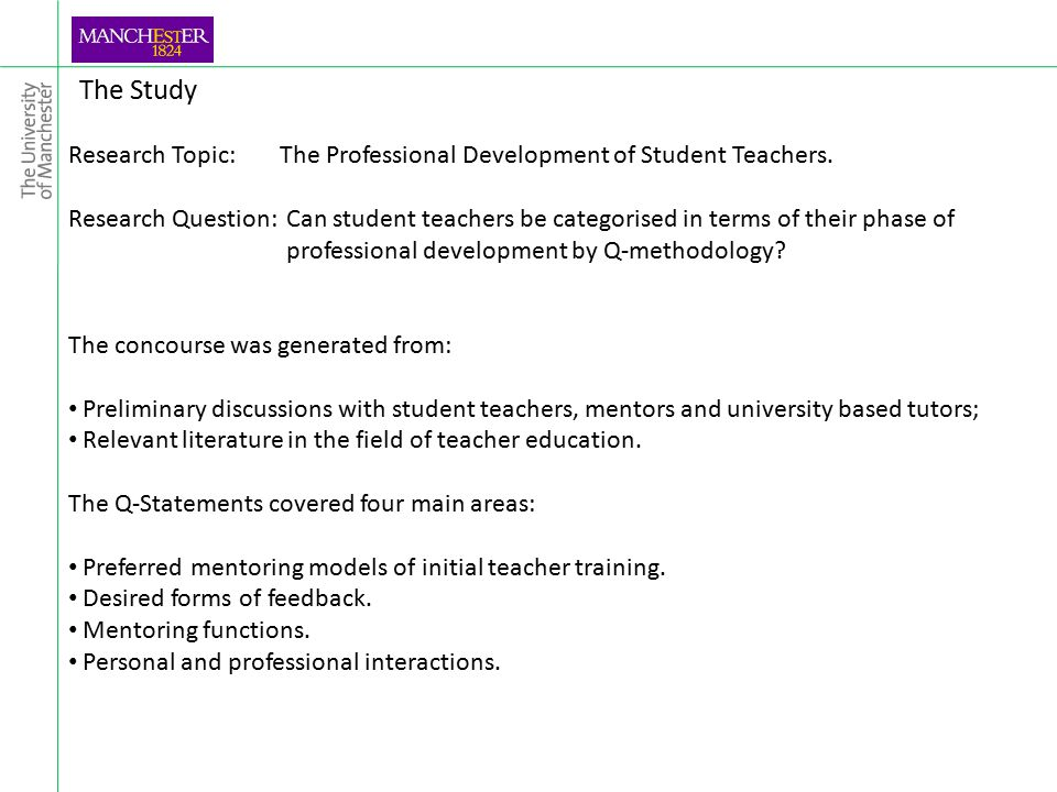 The Study Research Topic: The Professional Development of Student Teachers.