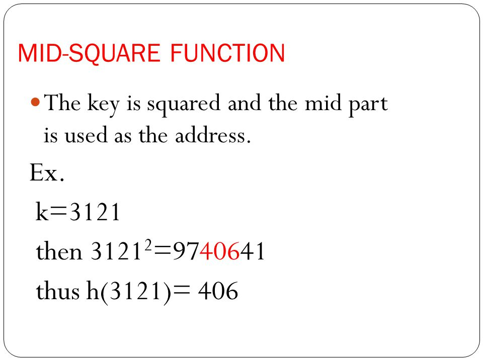 MID-SQUARE FUNCTION The key is squared and the mid part is used as the address.