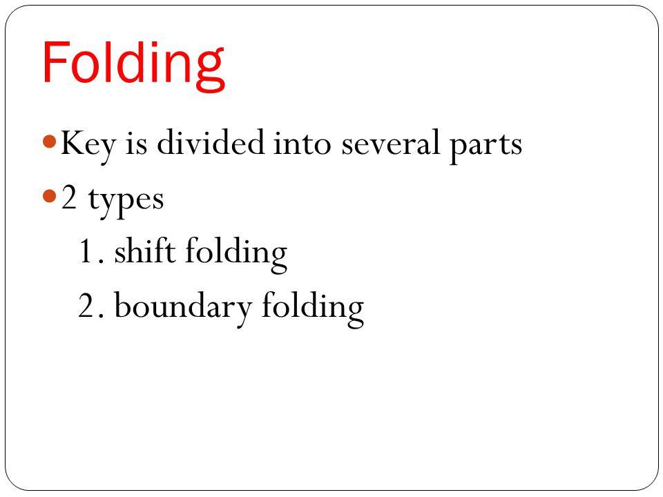 Folding Key is divided into several parts 2 types 1. shift folding 2. boundary folding