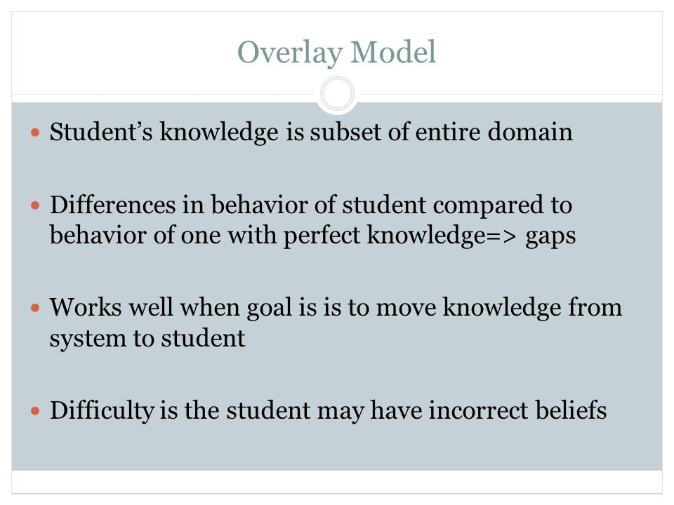 Student Model Building Evidential problem nodes Dedicated questions or problems Relationships between questions and ability are all logical AND Relationships between ability and problem and between skills and questions are 1 or 0 with a minor adjustment for lucky guesses/slips