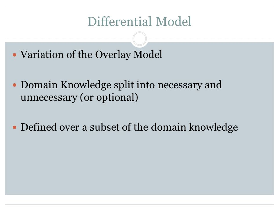Perturbation Model Student's knowledge is split into correct and incorrect Overlay model over an increased set of knowledge items Incorrect knowledge is divided into misconceptions and bugs Better explanation for student's behavior More costly to build and maintain Most common