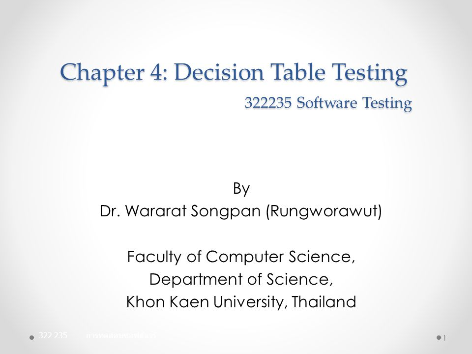 Decision Table Testing: DT Log In Facebook example: 12 ConditionsRule1Rule2Rule3Rule4Rule5Rule6Rule7Rule8Rule9 Email or Phone Blank Invalid Valid PasswordBlankInvalidValidBlankInvalidValidBlankInvalidValid Expected Results Error: Incorrect Email Error: Please Confir m Passwor d Error: Incorrect Email Error: Incorrect Email Error: Incorrect Email Error: Incorrec t Email Error: Please Confirm Passwor d Error: Please Confirm Password - Show pageLogin Page Facebook Page No.