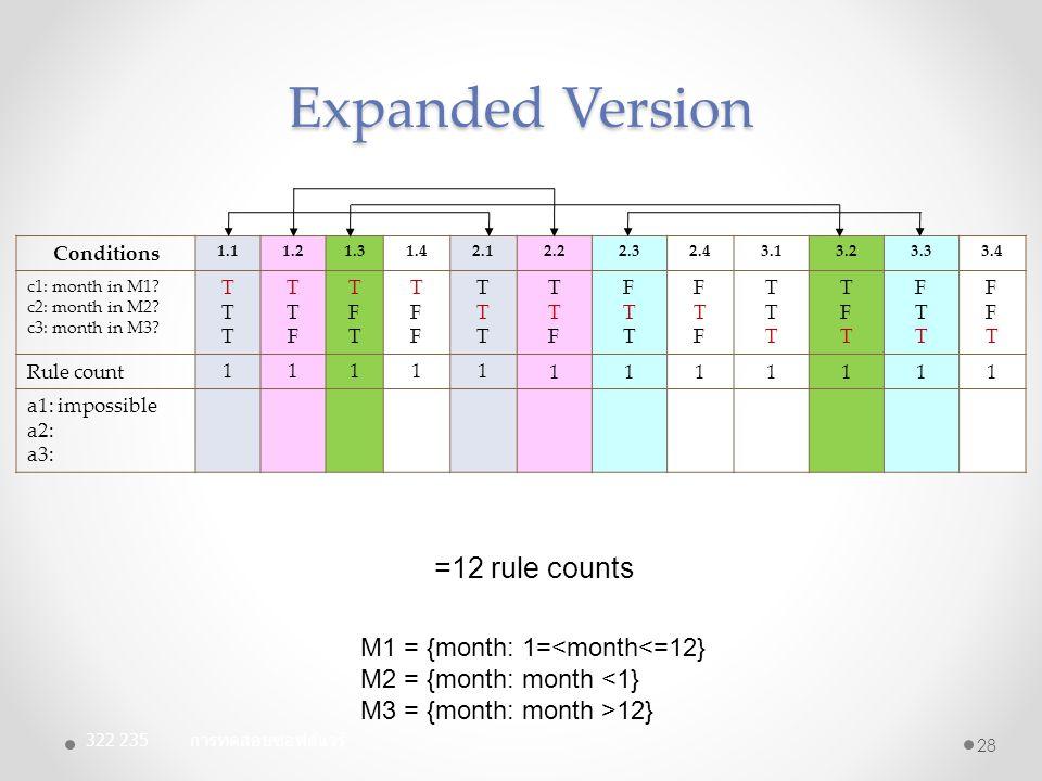 Expanded Version Conditions 1.11.21.31.42.12.22.32.43.13.23.33.4 c1: month in M1? c2: month in M2? c3: month in M3? TTTTTT TTFTTF TFTTFT TFFTFFF TTTTT