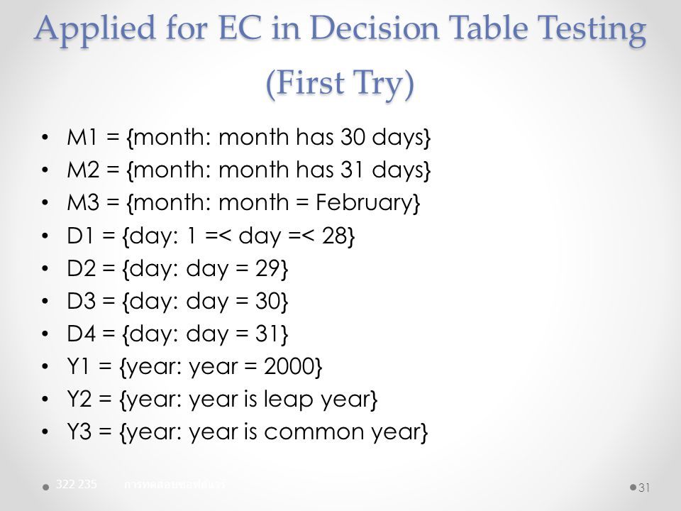 Applied for EC in Decision Table Testing (First Try) M1 = {month: month has 30 days} M2 = {month: month has 31 days} M3 = {month: month = February} D1