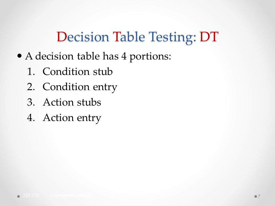 Decision Table Testing: DT Library example: 18 ConditionsRule1,2Rule3,4Rule5Rule6Rule7Rule8 User Registered?FFTTTT No Outstanding fees.