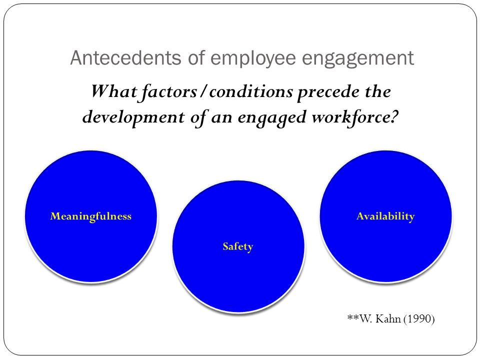 Antecedents of employee engagement What factors/conditions precede the development of an engaged workforce? **W. Kahn (1990)