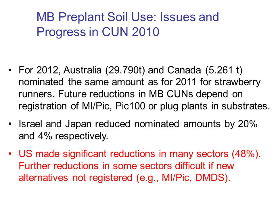 MB Preplant Soil Use: Issues and Progress in CUN 2010 For 2012, Australia (29.790t) and Canada (5.261 t) nominated the same amount as for 2011 for str