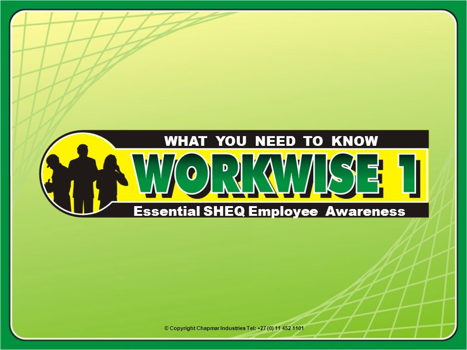 Essential SHEQ Employee Awareness WHAT YOU NEED TO KNOW © Copyright Chapmar Industries Tel: +27 (0) 11 452 1101