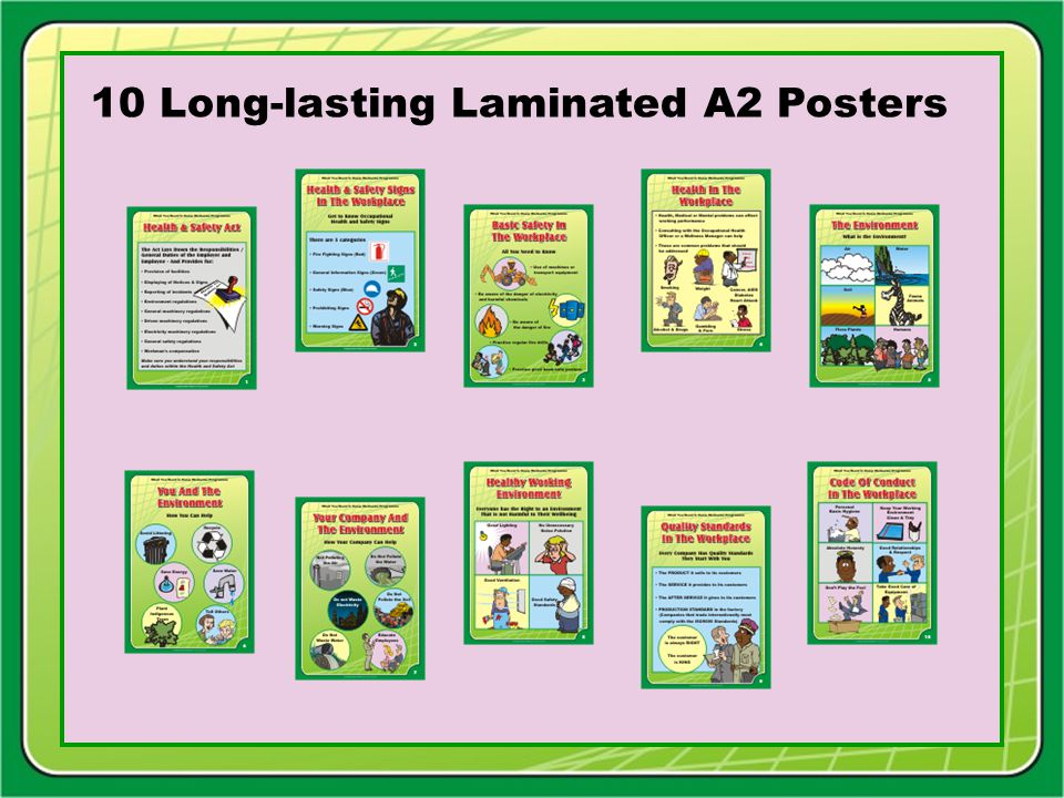 Facilitator Training Tools 10 Poster Presentation Flip Chart Commentary text Facilitator Notes on Using the Package A5 Support Information hand out Booklet Master Powerpoint Presentation P.O.Box 932, Edenvale 1610 Tel: (011) 452-1101 Fax: (011) 609-3898 E-mail: chapmar@global.co.za Chapmar Industries © Copyright Chapmar Industries Tel: +27 (0) 11 452 1101