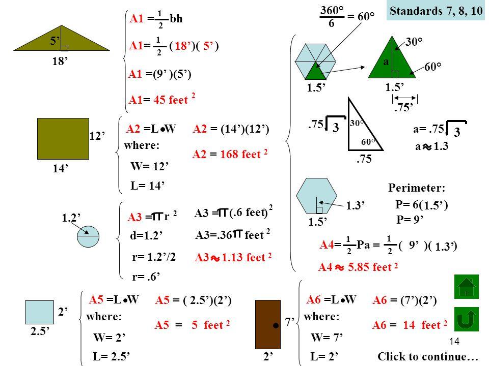 14 Standards 7, 8, 10 5' 18' 12' 14' 1.2' 1.5' 2' 2.5' 7' 2' A1= ( )( ) 1 2 A1 =(9' )(5') A1= 45 feet 2 18' 5' A1 = bh 1 2 A2 =L W where: W= 12' L= 14' A2 = (14')(12') A2 = 168 feet 2 A3 = r 2 r= 1.2'/2 A3 = ( ) 2.6 feet A3=.36 feet 2 A3 1.13 feet 2 d=1.2' r=.6' a 1.5' 30° 60°.75 3 30° 60°.75' a=.75 3 a 1.3 1.5' 1.3' Perimeter: P= 6( ) 1.5' P= 9' A4= Pa 1 2 1 2 = ( )( ) 9' 1.3' A4 5.85 feet 2 A5 =L W where: W= 2' L= 2.5' A5 = ( 2.5')(2') A5 = 5 feet 2 A6 =L W where: W= 7' L= 2' A6 = (7')(2') A6 = 14 feet 2 Click to continue… 360° 6 = 60°